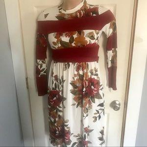REBORN J Long Sleeve Red Floral Dress Medium